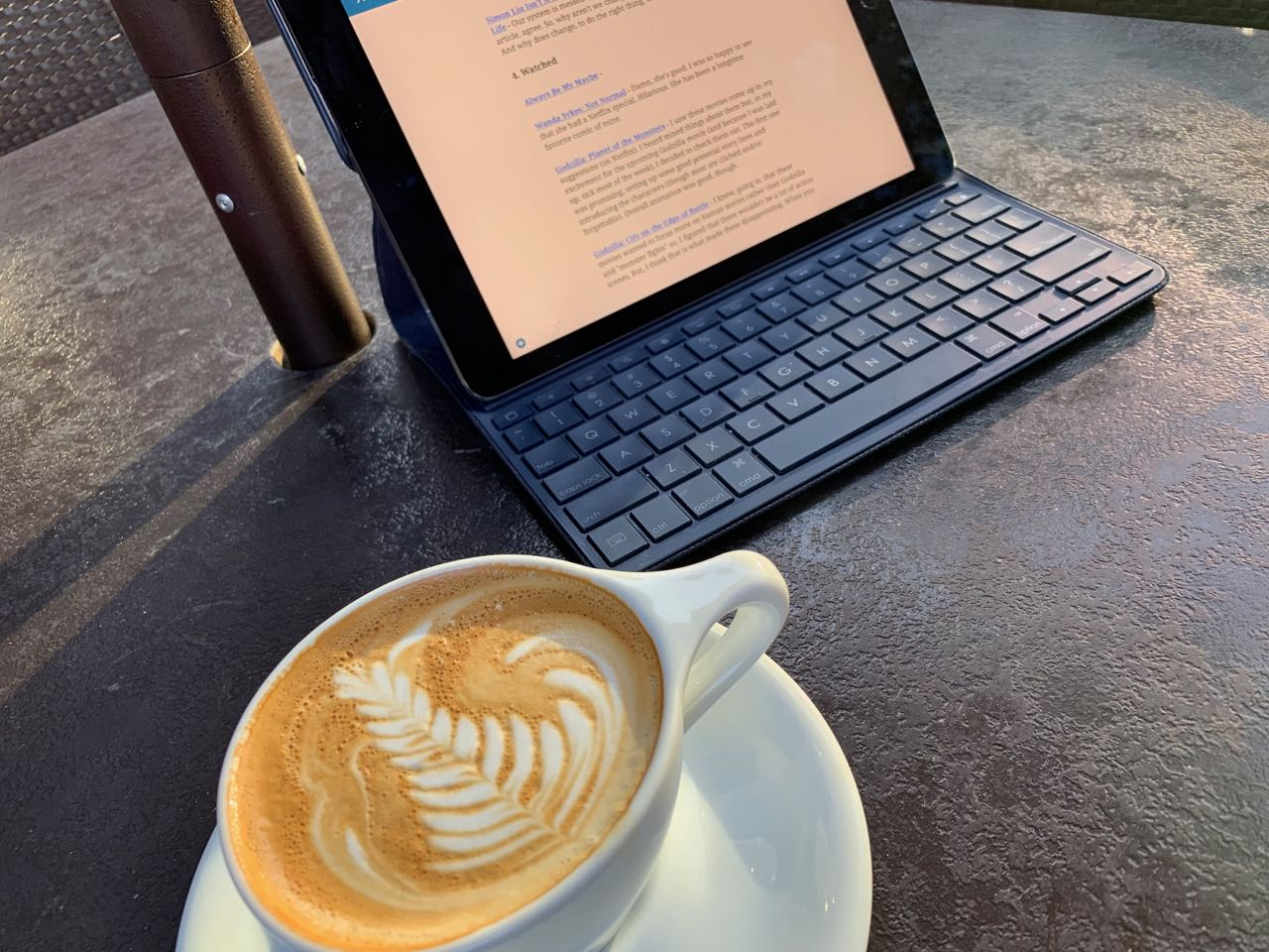Flat white coffee and ipad with keyboard