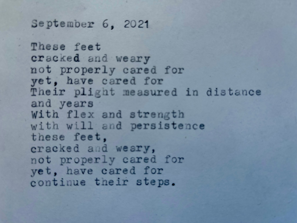 a picture of the poem, written using a typewriter.