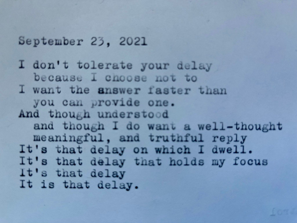 a picture of the poem, written on a typewriter.