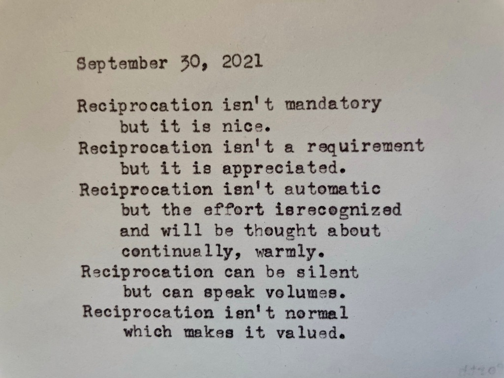 a picture of the poem, written on a typewriter